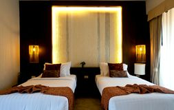 Bedroom Hotel 2. A Luxury Hotel Room with two beds Stock Image