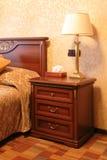 Bedroom in hotel stock photos