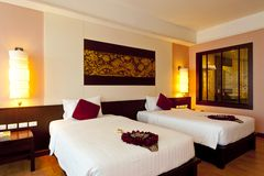 Bedroom hotel. A double bed room Royalty Free Stock Photography