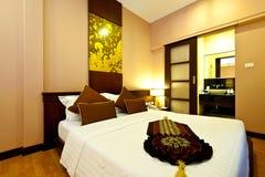 Bedroom hotel. Interior of a luxury bedroom Stock Image