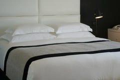 Bedroom of a hotel room. Bedroom design in black in a hotel room Stock Images