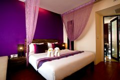 Bedroom Hotel Series 07. Interior of a hotel bedroom in vibrant colors Royalty Free Stock Photography