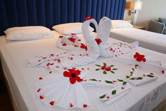 Bedroom in Hotel Suite with Heart Shaped Decorations Royalty Free Stock Photos
