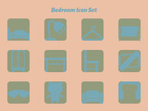 Bedroom icon set Royalty Free Stock Photo