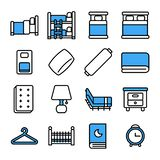 Bedroom icon set.Vector thin line style. stock illustration