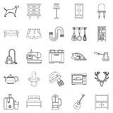 Bedroom icons set, outline style Stock Photo