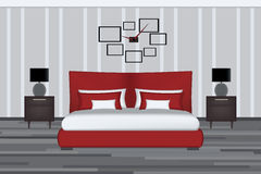 Bedroom Illustration. Elevation Room with Bed, Side Table and Lamp. Furniture Set for Yout Interior Design . Royalty Free Stock Photo