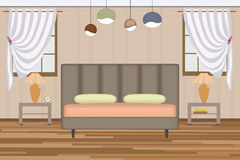 Bedroom Illustration. Elevation Room with Bed, Side Table, Lamp, Window and Curtains. Furniture Set for Your Interior Design . Stock Images