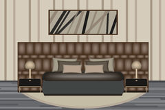 Bedroom Illustration. Elevation Room with Luxury Bed, Side Table and Lamp. Furniture Set for Your Interior Design . Stock Image