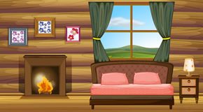Bedroom. Illustration of a bedroom with fireplace Royalty Free Stock Photo