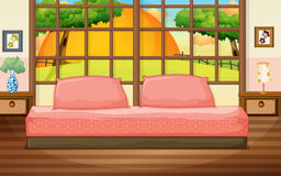 Bedroom. Illustration of a bedroom with a view Stock Image