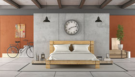 Bedroom in industrial style Royalty Free Stock Images