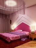 Bedroom interior. 3d interior rendering of the modern bedroom Royalty Free Stock Image