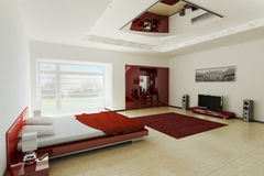 Bedroom interior 3d. Modern bedroom interior 3d render Stock Photography