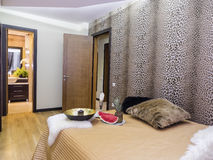 Bedroom interior. Bedroom with bathroom interior, decoration and lighting Royalty Free Stock Image
