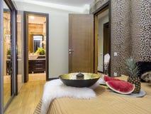 Bedroom interior. Bedroom with bathroom interior, decoration and lighting Stock Photos