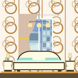 Bedroom interior with bed vector illustration