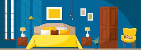 Bedroom interior with a bed, nightstands, wardrobe, yellow soft armchair, dark blue wall and windows. Flat cartoon style vector stock illustration