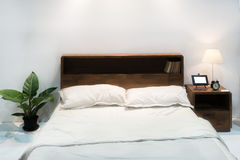 Bedroom interior with bed and pillow of cosy home in modern design. Vintage bedroom. stock images