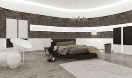 Bedroom interior with black king-size bed Royalty Free Stock Photos