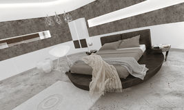 Bedroom interior with black king-size bed Stock Images
