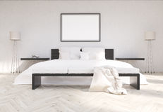 Bedroom interior with blank frame Royalty Free Stock Images