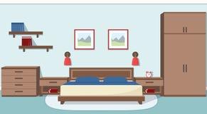 Bedroom interior in blue colors. Vector illustration. The interior of cozy bedroom in blue and brown colors. Vector illustration Stock Photos