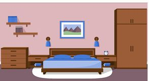 Bedroom interior in blue colors. Vector illustration. Royalty Free Stock Photography