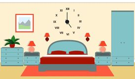 Bedroom interior in blue and red colors. Vector illustration. Royalty Free Stock Photography