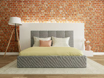 Bedroom interior with brick wall, modern room Royalty Free Stock Photography
