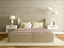 Bedroom interior with brick wall, modern room Stock Photos