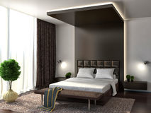 Bedroom interior. brown. 3d illustration Royalty Free Stock Images