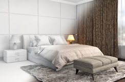 Bedroom interior with CAD wireframe mesh. 3D Illustration.  Stock Photo
