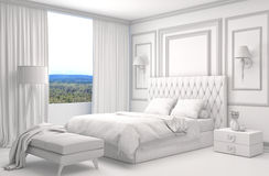Bedroom interior with CAD wireframe mesh. 3D Illustration.  Royalty Free Stock Photography
