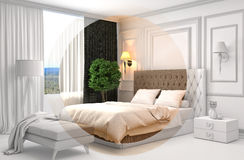 Bedroom interior with CAD wireframe mesh. 3D Illustration Stock Image