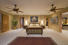 Bedroom Interior With Ceiling Fans Stock Images