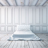 Bedroom interior in a classical style. Mockup posters in the interior. 3d Stock Photos