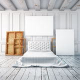 Bedroom interior in a classical style. Mockup posters in the interior. 3d Stock Image
