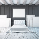 Bedroom interior in a classical style. Mockup posters in the interior. 3d Stock Photography