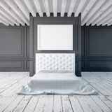 Bedroom interior in a classical style. Mockup posters in the interior. 3d Stock Photo