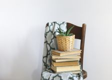 Bedroom interior close up with green plaid, books and plant on a. Chair. Home interior vintage decor Royalty Free Stock Photo