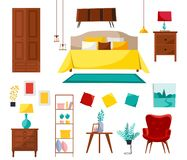 Bedroom interior collection with double bed, nightstands, wardrobe, shelf, armchair, stuff. Set of bedroom furniture. Modern stock illustration