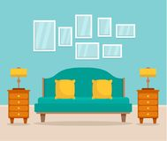 Bedroom interior concept background, flat style vector illustration