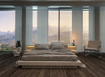 Bedroom interior with curtains and landscape view Royalty Free Stock Images