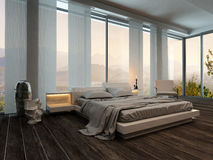 Bedroom interior with curtains and landscape view royalty free illustration