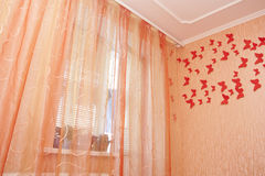 Bedroom interior with curtains Stock Photo