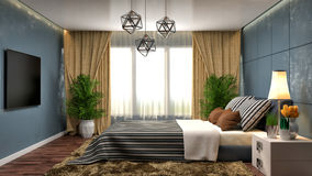 Bedroom interior. 3d illustration. Bed Royalty Free Stock Images
