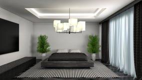 Bedroom interior. 3d illustration. Black Royalty Free Stock Images