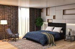 Bedroom interior. 3d illustration Royalty Free Stock Photos