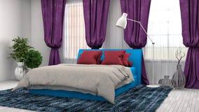 Bedroom interior. 3d illustration. Blue Stock Photo